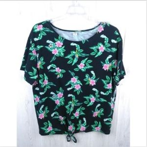 Old Navy Floral Tie front Short Sleeve Boxy Top
